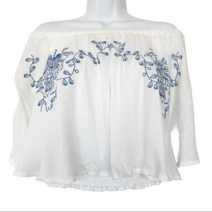 Rouge Boho Floral Embroidered Peasant Top Blouse